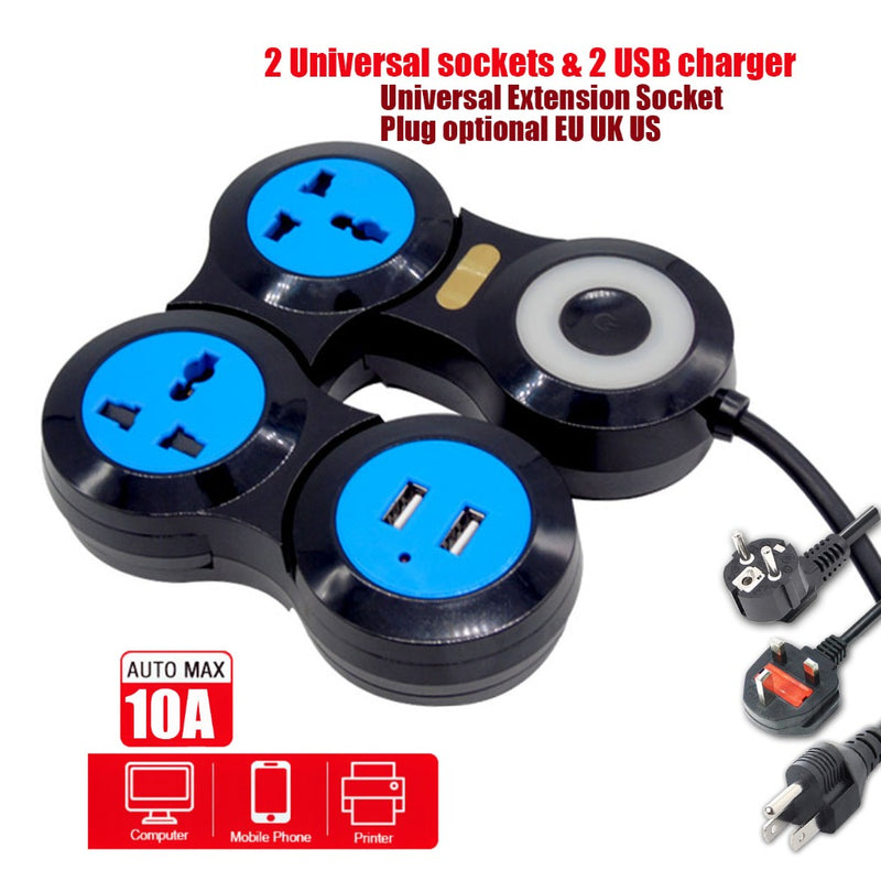 345-Position&USB outlet power strip Deformable Rotary Universal power socket converter for EU/ UK /US /International Optional