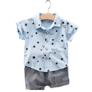 The new 2019 children's wear boy's summer wear pentagram short-sleeved shirt suits a undertakes