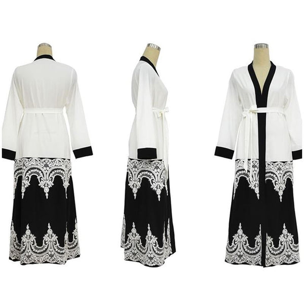 【عرض ساخن】Fashion Lace Openwork Stitching Black and White Cardigan Large Size Band Loose Robe Female