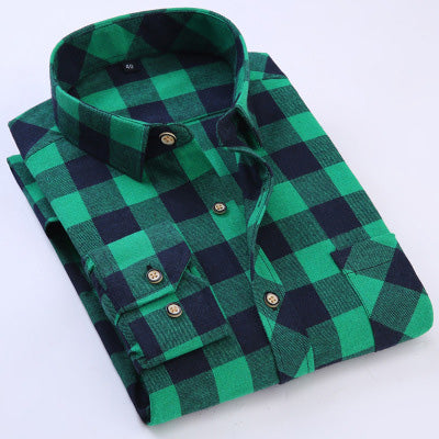 Fashion Men's Shirt Casual Grinding Plaid & Fertilizer Plus Size Shirt Men's Long Sleeve