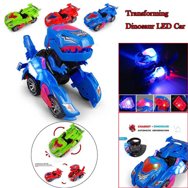 LED Deformation Dinosaur Car Excellent Plastics Electronic Components with Lights Music for Children Kid Gift