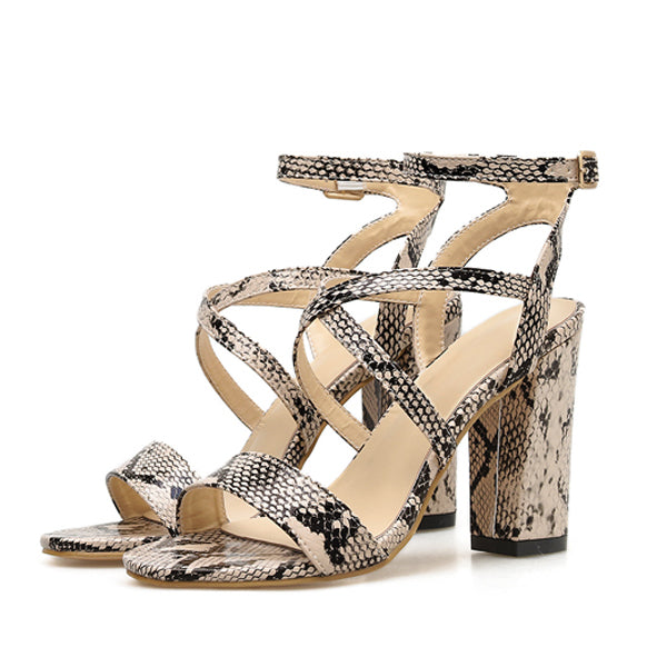 Gladiator Woman Pumps Snake High Heel Buckle Strap Open Toe Platform Party Wedding Sandals ladies shoes Sapato Feminino 8519W