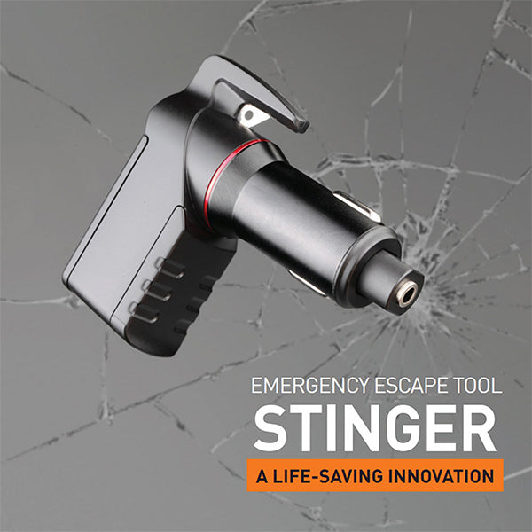 Car Vehicle Emergency Escape Tool - Life-Saving, Spring Loaded Window Breaker Punch, Seat Belt Cutter, Dual USB Ports 2.4A Max Output