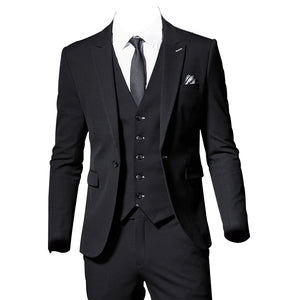 2019 High quality Black Mens Suits Peak lapel Formal Men Suit Set Men Wedding Suits Groom Prom Tuxedos Blazers 3 Pieces Sets