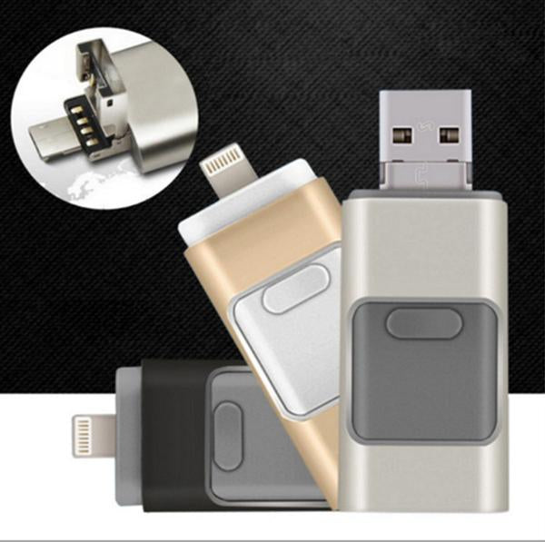 Three-In-One USB Flash Drive 8GB 16GB 32GB 64GB 128GB Support for iphone/Android/Computer