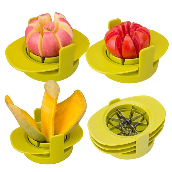 4in1 Apple Mango Tomato Guava Orange Pitaya Fruit Vegetables Slicer Corer Cutter with Common Base, Dishwasher Safe Practical Fruit Tools