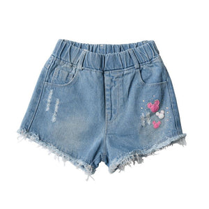 edition girls cuhk children's summer wear hot pants joker half pants goosegrass waist 5 minutes of fashion denim shorts