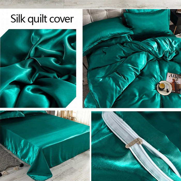 Ice silk 4pcs single double bed linen quilt silk bedding home textile
