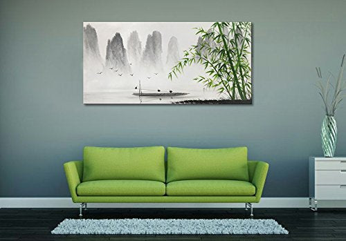 Traditional Chinese Painting Black and White Landscape Canvas Wall Art Bamboo Artwork