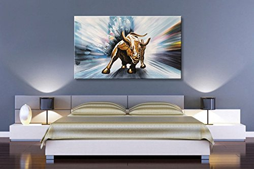 Modern Contemporary Oil Painting Wll Street Bull Abstract Artwork Decor Hanging Framed Ready to Hang