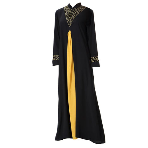 MISSJOY Muslim Robes prayer clothes Arab Middle Eastern women Fashion Full sleeve O-Neck patchwork elegant Ankle-Length dress