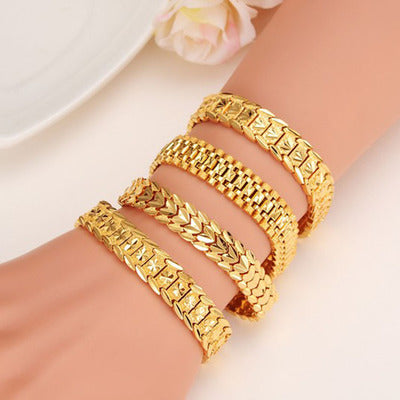【60% off】European Fashion Explosion Jewelry Carved Sand Gold Bracelet Men and Women Same Couple Imitation Gold Bracelet