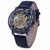 Men's Fashion Roman Numerals Hollow Retro Belt Mechanical Watch