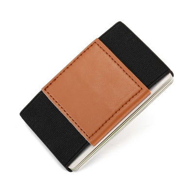 Slim Minimalist Wallet Credit ID Card Holder Small Cash Wallet Coins Purse Key Bag 10 Card Holders Genuine Leather and Elastic