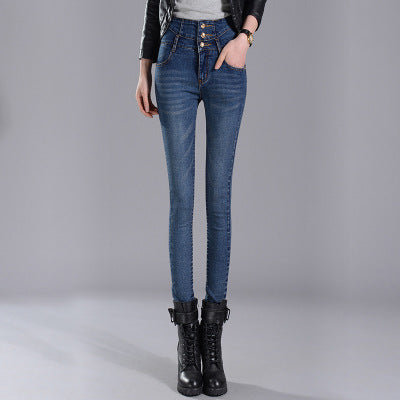 New Korean High Waist Double-breasted Denim Female Student Stretch Pants