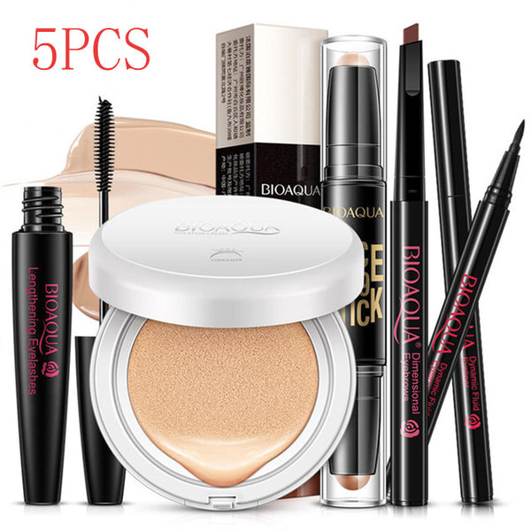 5Pcs Makeup Set Eyebrow Pencil Eyeliner Mascara BB Cream Foundation Air Cushion Concealer