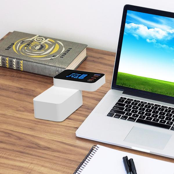 5-port QC 3.0 USB & Type-C Wired & Wireless Charge Station with Digital Display