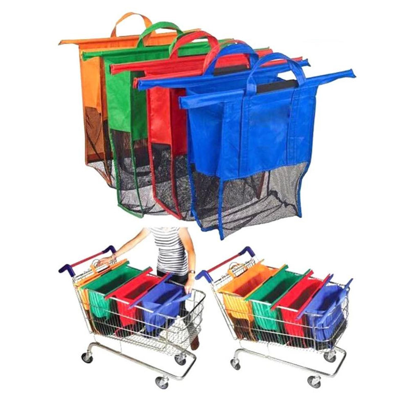 4 Pieces/Set Non-Woven Supermarket Hanging Shopping Bag Trolley Pouch Portable Storage Bag