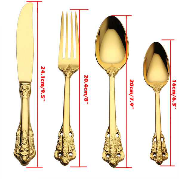 4pcs/set Luxury Golden Dinnerware Set Gold Plated Wedding Tableware Stainless Steel Cutlery Flatware Dining Set Knife Fork Bar