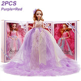 New Style Double Layer White Edge Wedding Dress Doll