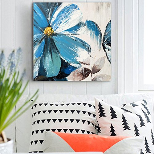 Blue Flowers Canvas Wall Art Paintings 1 Piece Abstract Elegant Big Flower Artworks