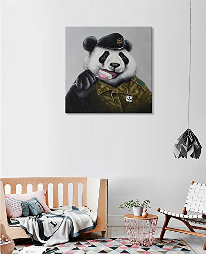 Hand Painted Panda Wall Art Oil Painting- Modern Wall Decor Cool Animal Stretched Canvas Art Panda Wall Picture