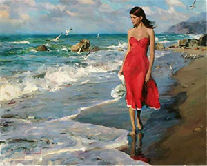 Woman in Red Dress by The Sea Coloring Wall Art Picture Gift