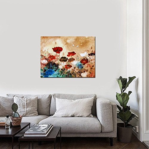 Blooming Poppies Modern Gallery Wrapped Grace Contemporary Flowers Artwork Colorful Floral Pictures Paintings