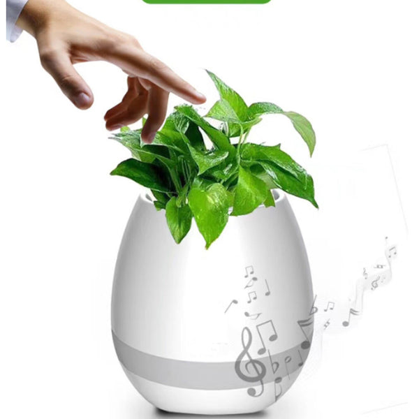 Music Flower Pot,Led Bluetooth Speaker Flowerpot Night Light Smart Touch Music Plant