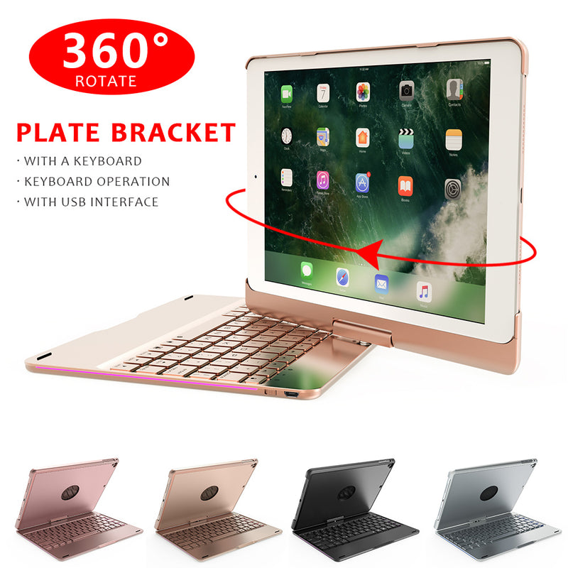 Case For Ipad 9.7 With 7 Color LED Wrieless Keypad 360 Degree Rotate Bluetooth Keyboard Cover Computer Premium Laptops Portable