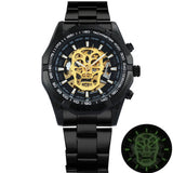 WINNER Classic Golden Skeleton Mechanical Watch Men Stainless Steel Strap Top Brand Luxury Man Watch Vip Drop Shipping Wholesale