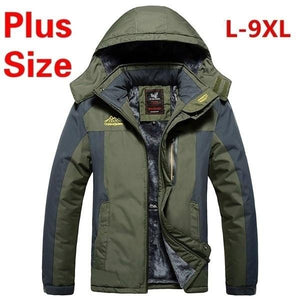 Men's Winter Jackets with Hooded Thickening Outdoor Jacket Waterproof Plus Size L-9XL