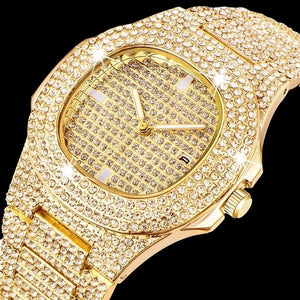 Mens Watches 14K Gold Plated Diamond Watches Business Watch Waterproof Quartz Watches Relogio Masculino