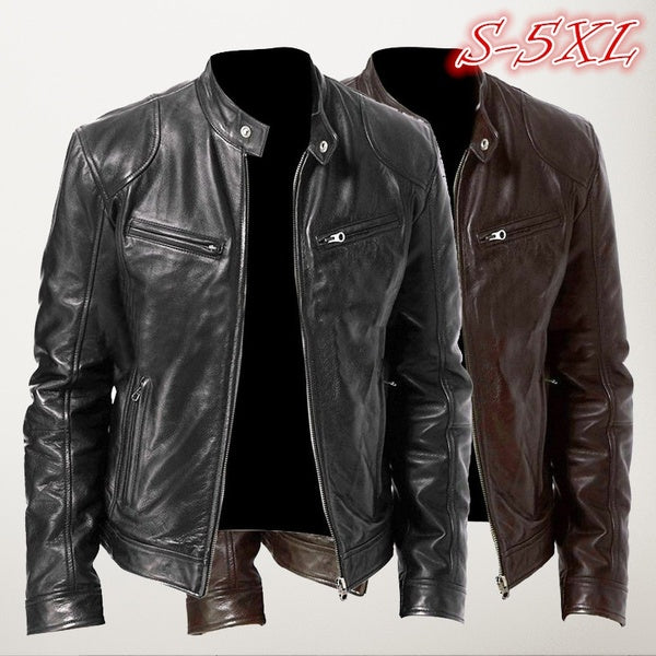 (NEW) Fashion Men Cool Motorcycle Leather Jacket Autumn Winter Long Sleeve Jacket Coat
