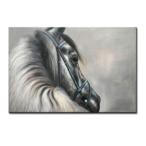 Seekland Art Large Hand Painted Black and White Horse Picture Modern Animal Oil Painting on Canvas Artwork