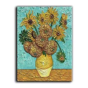 100% Hand-Painted Oil Paintings On Canvas Van Gogh Sunflower Flowers Artwork Pictures Modern