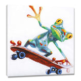Modern Cute Colorful Golden Leaf Frog with Skateboard Pictures for Wall Oil Painting 100% Hand Painted