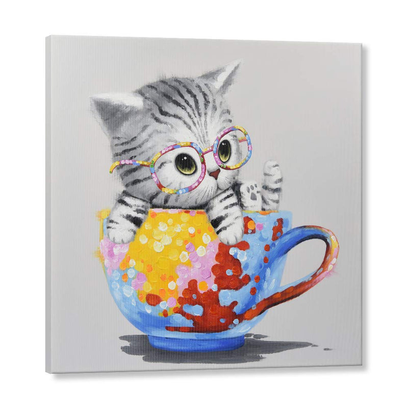 Hand Painted Cat Wall Picture Oil Painting- Modern Canvas Painting Cute Baby Animal Wall Decor