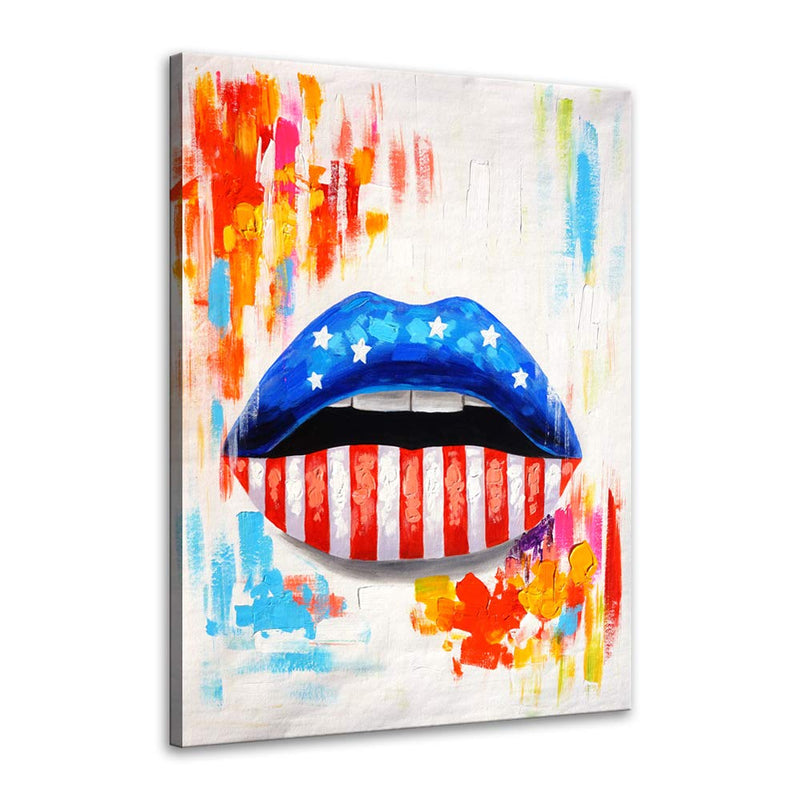 Colorful American Flag Women Blue and White Red Lip Canvas Print Art