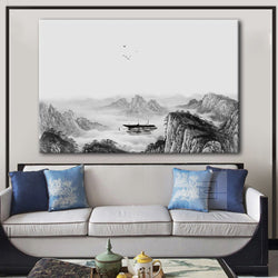 Chinese Ink Painting Landscape with Mountains  and Boat in The River - Giclee Print Gallery Wrap Modern Home Decor