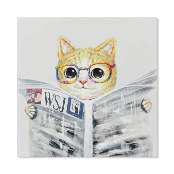 Modern Hand-Painted Oil Painting Animal Cute Pet Cat Artwork with Stretched Frame for Kids Room Bedroom Home Decor Cat Reading Newspapers