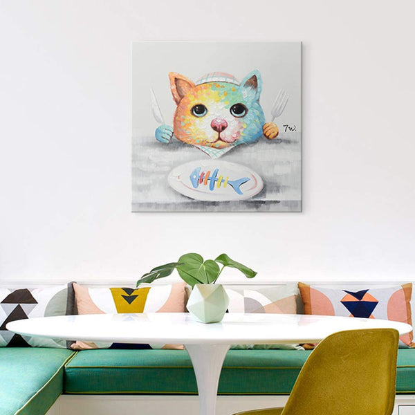 Modern Hand-Painted Oil Painting Animal Cute Pet Cat Artwork with Stretched Frame for Home Decor Cute Kitty Having Dinner