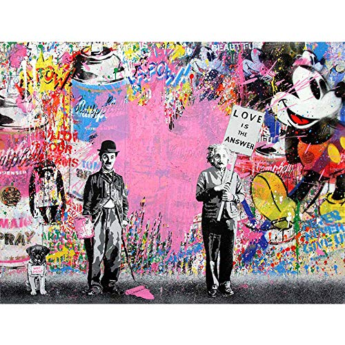 Art Chaplin & Einstein Pink Canvas Paintings 'Love is The Answer' Wall Art Prints Posters