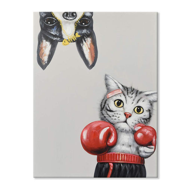 Hand-Painted Oil Painting Animal Cute Cat Boxer Hits Pug Sandbags Artwork