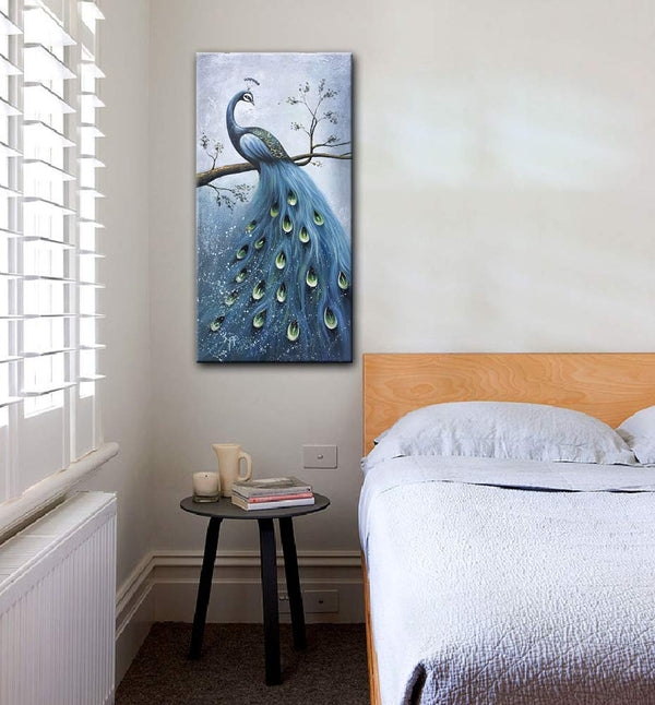 Blue Peacock Artwork Canvas Wall art 100% Hand Painted Oil Painting 3D Effected Animal