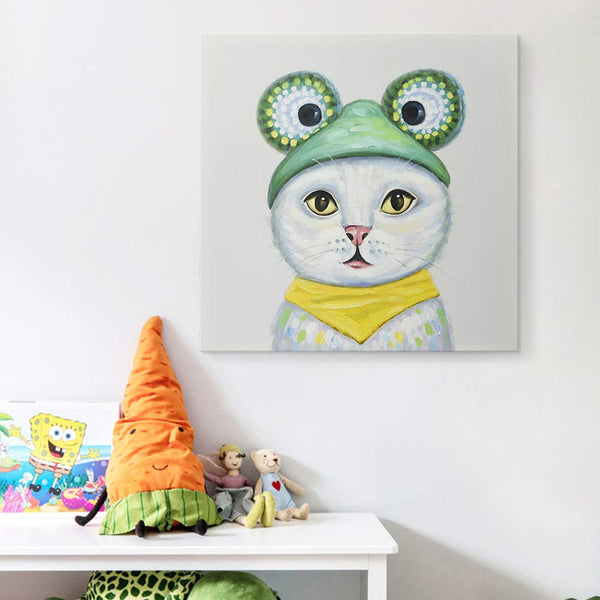 Modern Hand-Painted Oil Painting Animal Cute Pet Cat in Costume Party Artwork