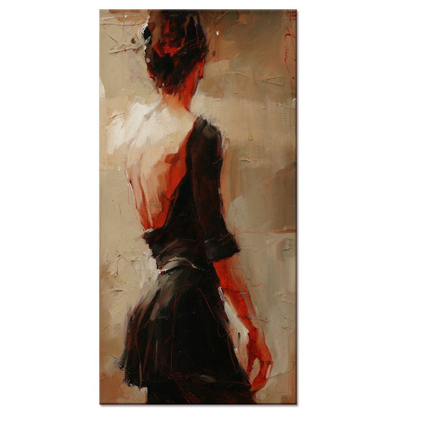 Oil Painting Feeling Canvas Prints,large Size Elegant Lady Dancer in Black Canvas Wall Art With Frame,Ready-hang-on Interior Home Room Decal