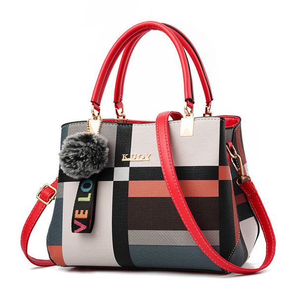 New Casual Plaid Shoulder Bag Fashion Stitching Wild Messenger Brand Female Totes Crossbody Bags Women Leather Handbags