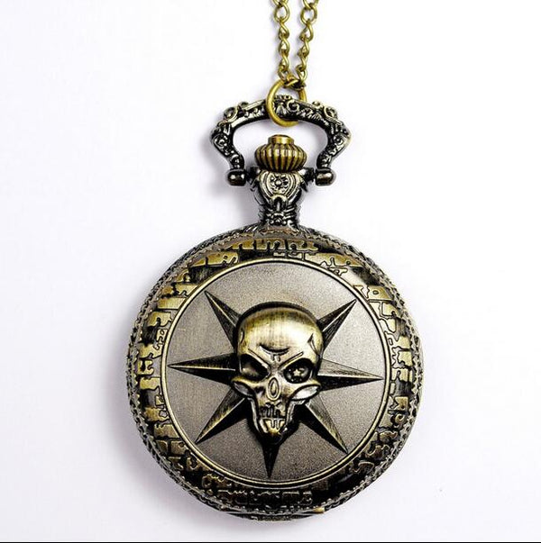 [buy one get one] Vintage Bronze Cross Fire The king of the pirates Modern hours clock Necklace pocket watches