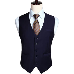 Men's Wedding Business Formal Dress Vest Suit Slim Fit Casual Tuxedo Waistcoat Fashion Solid Color
